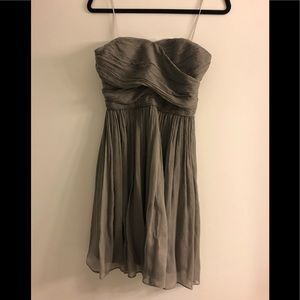 Grey strapless silk J. Crew dress